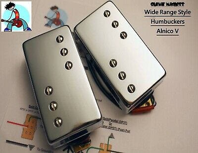 Chrome Wide Range Style Alnico V Humbucker Pickups