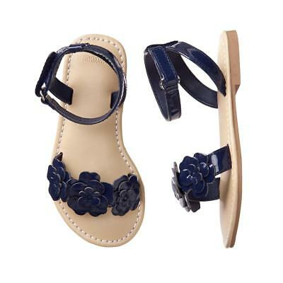 NWT Gymboree Dressed Up Girls Navy Blue Floral Sandals Shoes 4 5 6 7 8 9 10