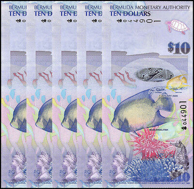 Bermuda 10 Dollars X 5 Pieces - PCS, 2009, P-59, UNC, Onion Prefix