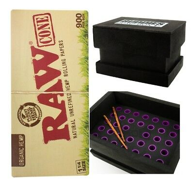 900 Raw 1 1/4 Size Pre-Rolled Cones With Buddies Bump Box