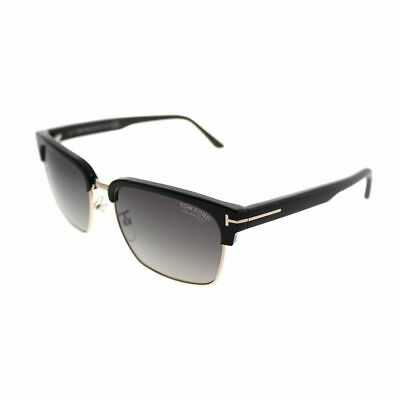 5f8f4314eff2c Tom Ford River TF 367 01D Shiny Black Gold Sunglasses Grey Polarized Lens