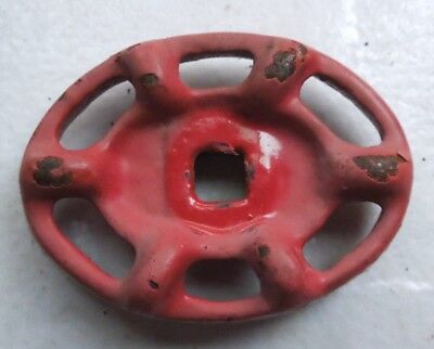 """Red Oval Vintage Steampunk Cast Iron Water Valve Handle  2 1/8"""" X 1 5/8""""   Inch"""