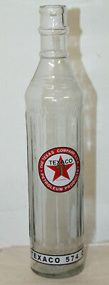 Vintage Style Texaco Motor Oil Glass Bottle 15'' Quart Gas Station Advertising