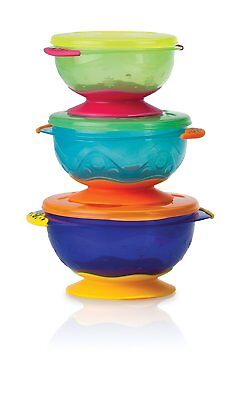 Nuby Stackable Suction Bowl With Lid Pack Of 3 Multi Coloured Great For Weaning