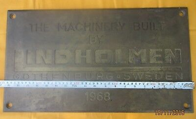 Vintage Ships Engine Builder Brass Original Plaque/Plate LINDHOLMEN 1968