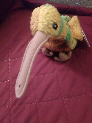 "Ty Beanie Baby ""beak"" The Kiwi Bird - Great Condition - 1998 With Errors"