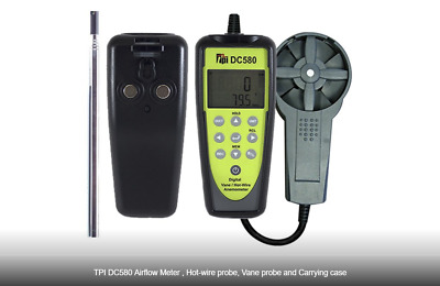TPI DC580C3 Bluetooth Connectivity Air Flow Meter Hot Wire and Vane Anemometer