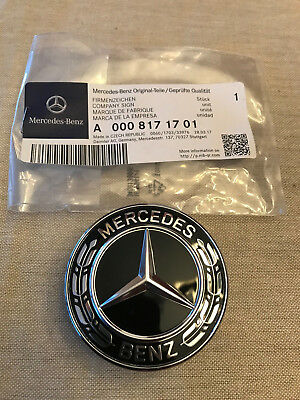 Mercedes Benz Hood Black Flat Laurel Wreath Badge Emblem OEM 0008171701