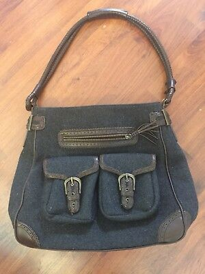 Eddie Bauer Wool Leather Shoulder Bag Purse Gray Brown