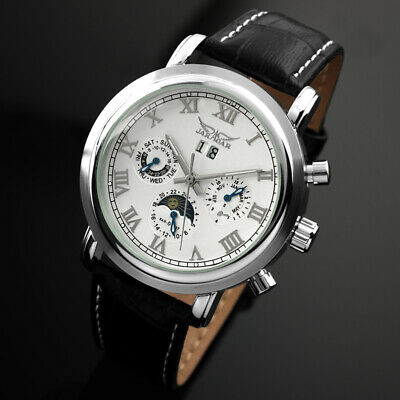 Mens Watch Automatic White Stainless Steel Case Moonphase Date Best Gift Luxury