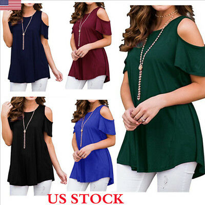 Women Summer Cold Shoulder Loose Top Blouse Ladies Casual Tops T-Shirt Plus Size