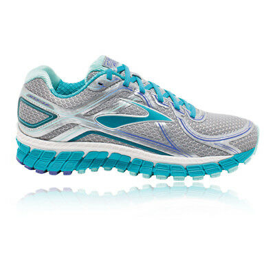 Brooks Adrenaline GTS 16 Womens Blue Silver Running Shoes Trainers D Width
