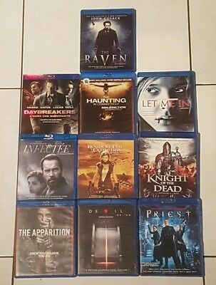 Lot of 10 blu-ray , priest, devil, raven, apparition, daybreakers, hunting