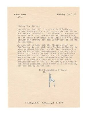 Albert Speer WWII German Architect Typed Letter & Envelope (1969) - Authentic!
