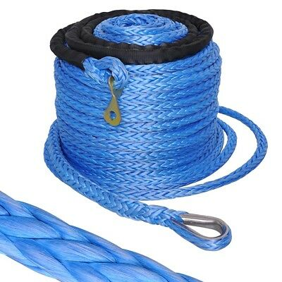 92ft x 10mm 17500lb Winch Synthetic Rope Cable Thimble Sleeve for Recovery Winch