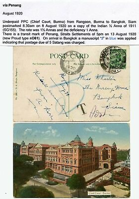 BURMA to THAILAND 1920 PPC UNDERPAID + CHARGED PENANG MALAYA TRANSIT CHIEF COURT