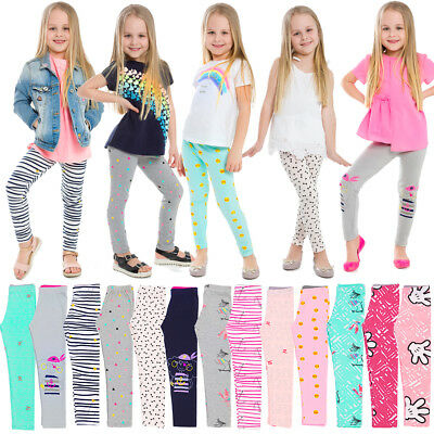 Children Leggings Full Length Bamboo Fabric Comfy Printed Kid Pants Age 4-12 NMA
