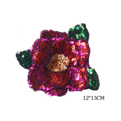 Sequined Patch Rose Peony Flower Green Leaf Embroidered Applique Sew On Cloth