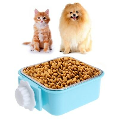 Pet Stainless Steel Bowl Water Food Feeder Dog Cat Hanging Cage Square Supplies