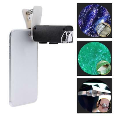 Universal 60X-100X Zoom Microscope LED Magnifier Clip-on Micro Lens for Phone