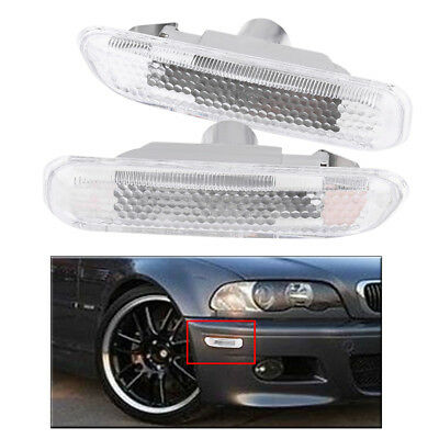 2x Turn Signal Parking Side Marker Light Clear for BMW E46 2/4 Door 1999-2003 DY