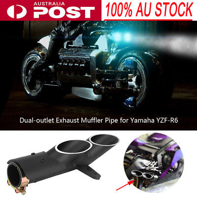 Dual-outlet Motorcycle Exhaust Muffler Pipe for Yamaha YZF-R6 Suzuki GSX-R Honda