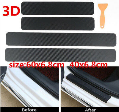 Car Accessories Door Sill Scuff Welcome Pedal Protect 3D Carbon Fiber Stickers