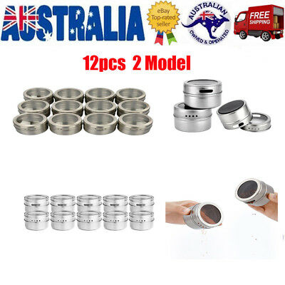 12X Stainless Steel Magnetic Spice Tin Steel Storage Container Container Jar