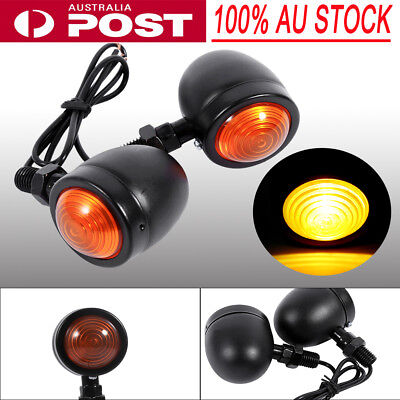Pair of Black Metal Motorcycle Cafe Racer Turn Signal Indicator Lights Lamps SG