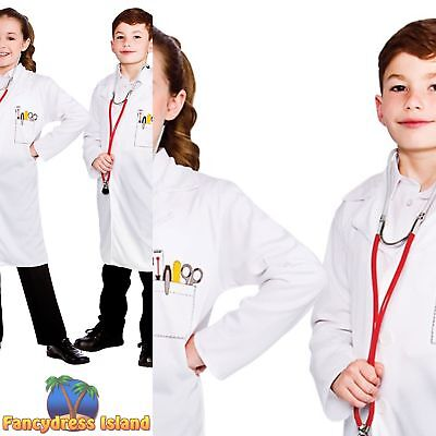 Doctors White Lab Coat Scientist Science Boys Girls Childs Fancy Dress Costume