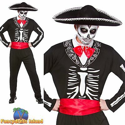 Mariachi Day of the Dead Skeleton Halloween Adult Mens Fancy Dress Costume