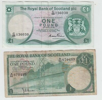 UK Great Britain Scotland BOS 1 Pound & RBOS 1 Pound - 2 notes !!