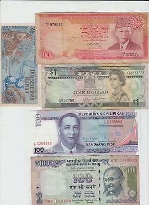 India Pakistan Fiji Philippines Indonesia 5 Notes as seen in Scan