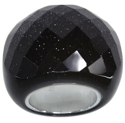 Blue Sandstone Night Sky Checkerboard Cocktail Solid Sterling Silver Ring