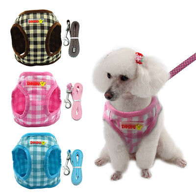 Nylon Dog Harness Refective Soft Pet Walking Vest Leash Set For Small Puppy Cat