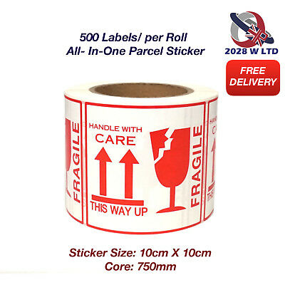 500 Labels/Roll All-in-One Parcel Sticker (Fragile, Handle with Care...)