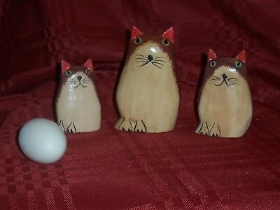 Set of 3 Hand Carved and Hand painted Burgandy Cats Cute !!