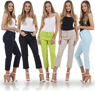 Ladies Crop Trousers Holiday Stretch 3/4 Summer Pockets Capri Pants
