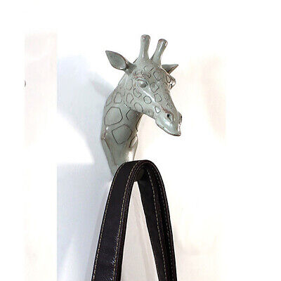 2pcs Coat Hook Elephant Giraffe Wall Sculpture Vintage Retro Antique Style