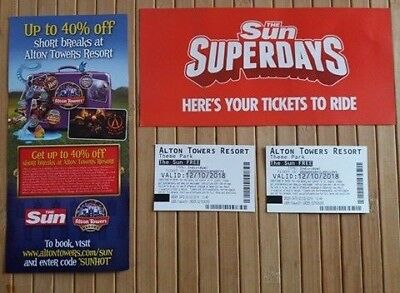 2X Alton Tower Tickets For 12/10/2018