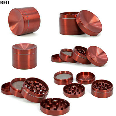 Red 4 Piece Herb/Spice/Weed Alloy Smoke Crusher 40mm Tobacco Grinder