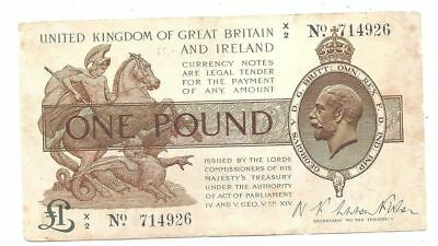 Great Britain 1 Pound 1919 in (aVF) Condition Banknote P-357
