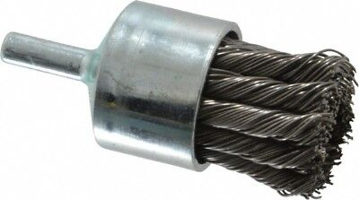 "Weiler 1-1/8"" Diam Knotted End Brush 1/4"" Shank Diam, 22,000 Max RPM"
