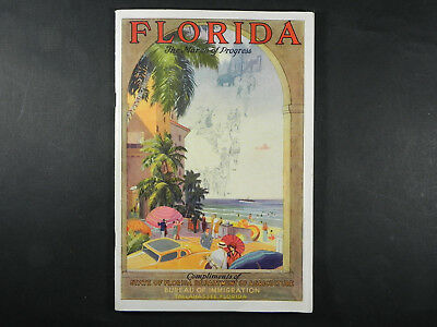 Florida Travel Guide Map.Vintage 1932 Florida Facts For Tourists Book Souvenir Travel Guide