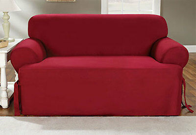 Sure Fit Cotton Duck Sofa Slipcover In Claret Color T Style Seat