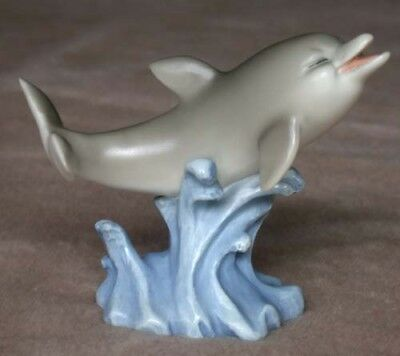 """Gray Dolphin Figurine Swimming in the Water 4"""" Resin"""