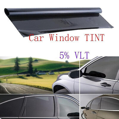 Cool Professional Dark Smoke Black Car Window TINT 5% VLT Film 300x50cm Uncut