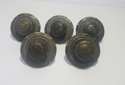 Set of 5 Brass Drawers Pulls Handles Double Back with Plates Asian Botanical Vtg