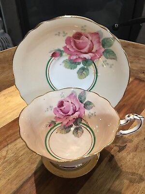 Vintage Paragon Cup And Saucer. Peach With Large Cabbage Rose