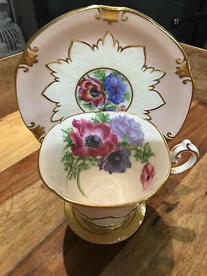 Paragon By Appointment Cup And Saucer In Light Pink. Hand Painted Poppies.